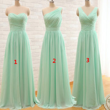 Ever Beauty Mint Green Long Chiffon A Line Pleated Bridesmaid Dress Under 50 Wedding Party Dress 2016 Robe Demoiselle D'honneur(China (Mainland))