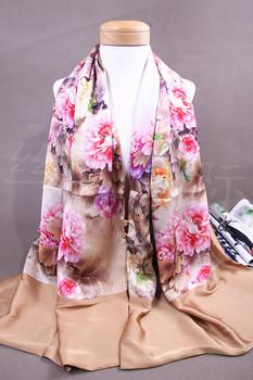 Elegant Chinese PanKou style cheongsam shawl Peony Flowers inkjet printing double-sided silk painting silk scarf scarves Beige