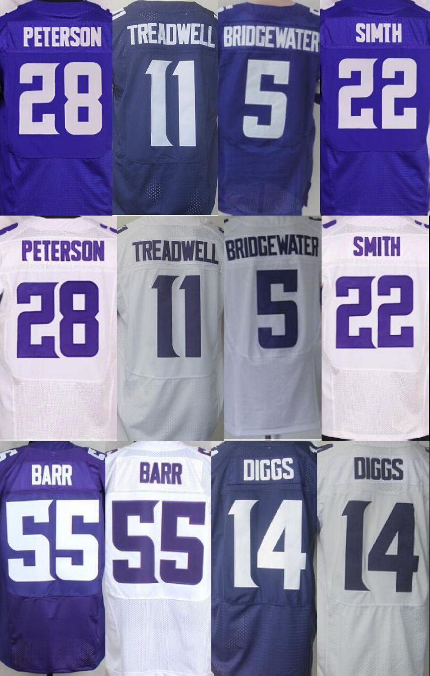 11 Laquon Treadwell 5 Teddy Bridgewater 14 Stefon Diggs 28 Adrian Peterson 26 Harrison Smith Waynes Trae 55 Anthony Barr jersey(China (Mainland))