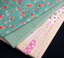 New 100% Cotton Fabric Art Sewing Rose and Plaid DIY Fabric Material 4 Designs Green and Pink Size 50 X 50CM Free shipping(China (Mainland))