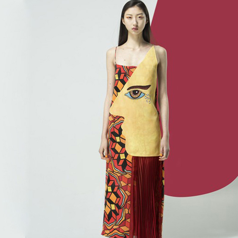 Summer Dress 2015 Womens New Fashion Brand Desigual Runway Eye and Geometirc Pirnt Pleated Spaghetti Strap Long DressОдежда и ак�е��уары<br><br><br>Aliexpress