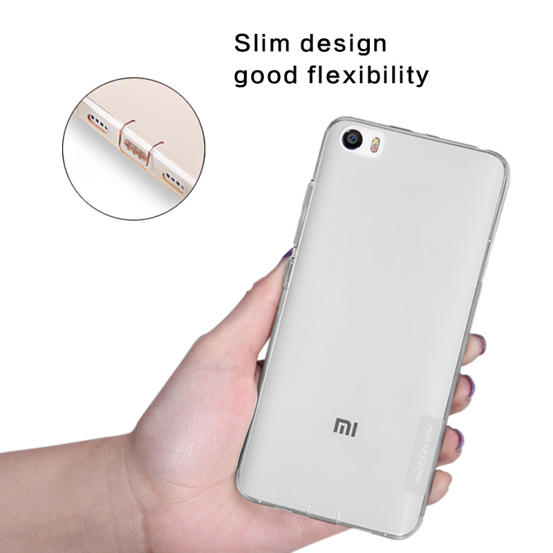 Nillkin flexible soft protective sleeve back case cover for XiaoMi 5 TPU clear protective shell phone protector for Millet 5(China (Mainland))