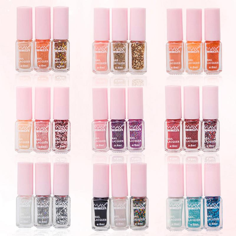 2016 New 3pcs/lot Fashion Women Aqueous Health Nail Art Light Oil Magic 3 colors Gradual Change Glitter Gel Nail Polish Set(China (Mainland))