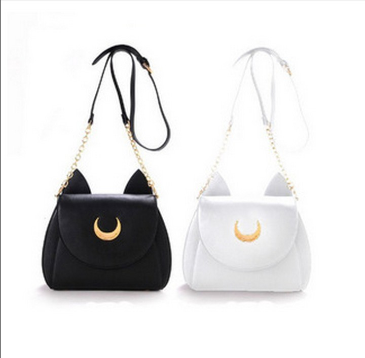 "2015 new Japanese style lady's kawaii Limited Edition ""Sailor Moon"" LUNA leather cat shape shoulder bag/messenger,freeshipping(China (Mainland))"