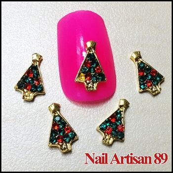 Lovely 3D Alloy Christmas Glitter Colorful Trees 20psc/lot Size: 11*7mm #B331