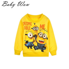 New Brand T-shirt Boys Tops Cute Cartoon Children Boy Clothing Long Sleeve Small Yellow People Pattern Sweatshirts Hot Sale