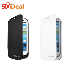 3200mAh External Backup Charger Battery Pack Power Bank Cover + PU Leather Case for Samsung Galaxy S3 i9300 w/ Media Kick Stand(China (Mainland))