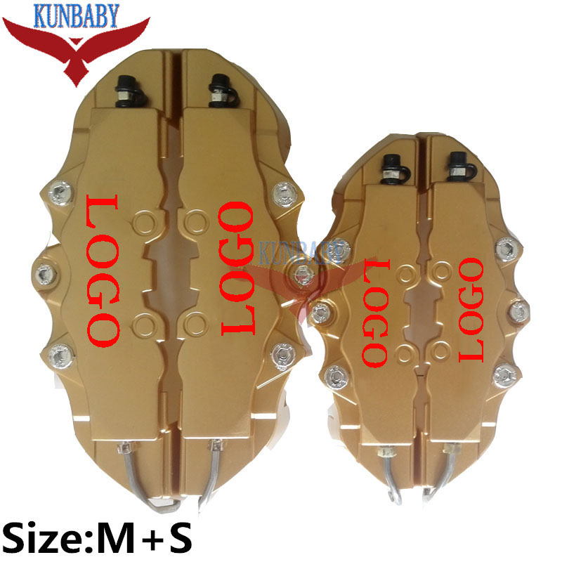 4 pcs/10 Sets/5 Sets ABS Thick Plastic 3D Word Style Front + Rear Disc Brake Caliper Cover Kit Size M+S Free Shipping(China (Mainland))