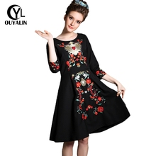 Buy S M Brand Women Luxury Floral Embroidered Dress 3/4 Sleeve Knee-Length Dresses Spring Autumn Fashion Big Plus Size Clothing G369 for $41.22 in AliExpress store