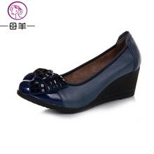 Высокая высокие каблуки женщины натуральная кожа один свободного покроя обувь женщина клинья удобные женщины туфли на высоком каблуке(China (Mainland))