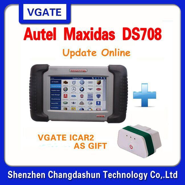 [AUTEL Distributor] 2015 100% Original Autel Maxidas DS708 DS 708 Free Update Online Auto Diagnostic Scanner Vgate icar2 gift(China (Mainland))