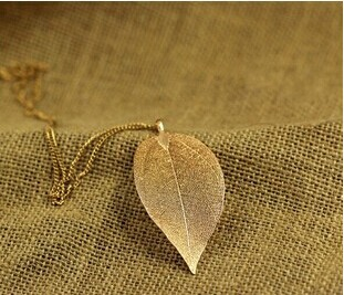 Free shipping dipped Gold Plate Leaf Necklace leaf long pendant necklace Sweater chain jewelry for women X-357(China (Mainland))