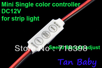 free shipping DC12V Mini Controller, LED Single Color Controller for SMD 3528 /SMD 5050 Strip light 15pcs/lot