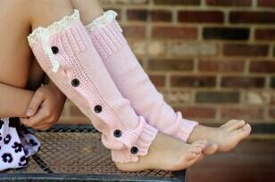New Knit Little Girls leg warmers Crochet Lace Trim and Buttons Children Kids Leg Warmers Boot Cuffs Cover Socks Wholesale<br><br>Aliexpress