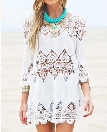 2016 женская Мода Купальники Крючком Туника Пляж Cover Up/белый Пляж Платье халат-де-plage