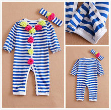 2016 Baby Girl Toddler Newborn Infant striped Bodysuit Outfits Clothes Suit(China (Mainland))