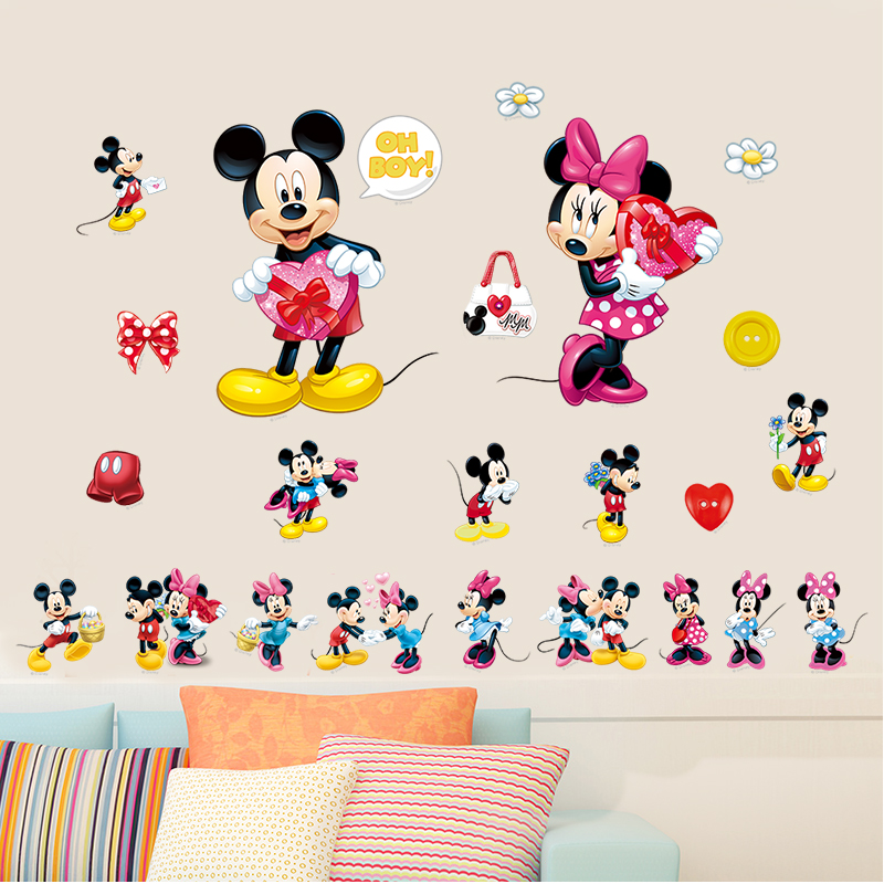 acquista all ingrosso online topolino e minnie wall aliexpress com buy mickey mouse wall sticker cartoon