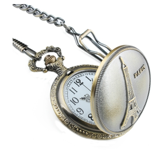 New Designer Retro Eiffel Tower Pocket Watch Commemorate Necklace Men and Women Chain Watch Kids Boy Girl Gift Free Shipping