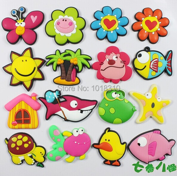 16PCS/LOT Soft Rubber Fridge Magnet Kids Blackboard Sticker Early Education Toys Summer Flower Fish Duck(China (Mainland))