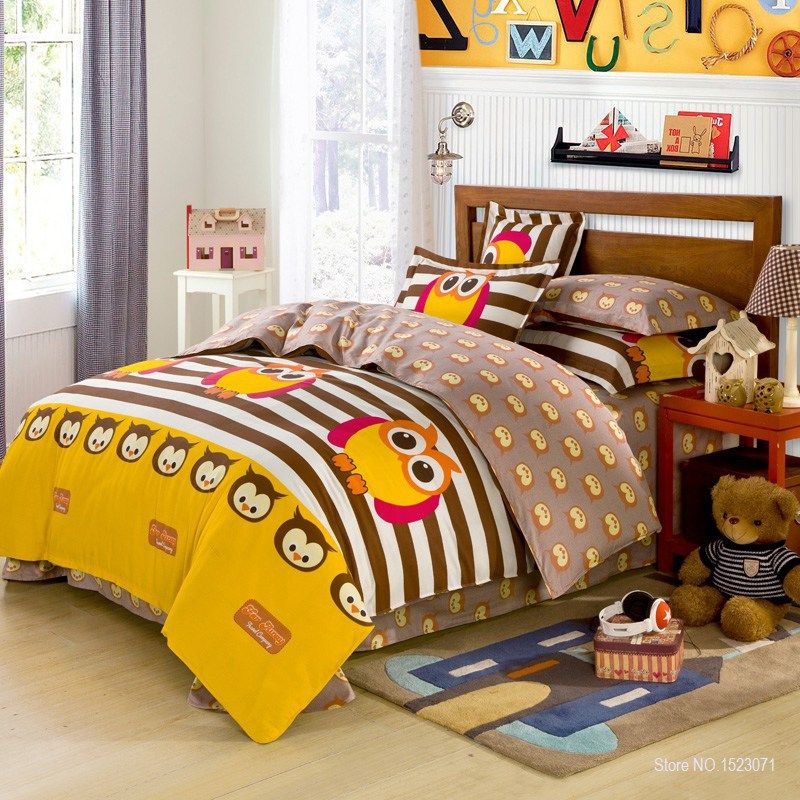 3/4pcs 100%cotton owl girls/boys bedding set stripe point bed linen include duvet cover bed sheet pillowcase queen/twin size(China (Mainland))