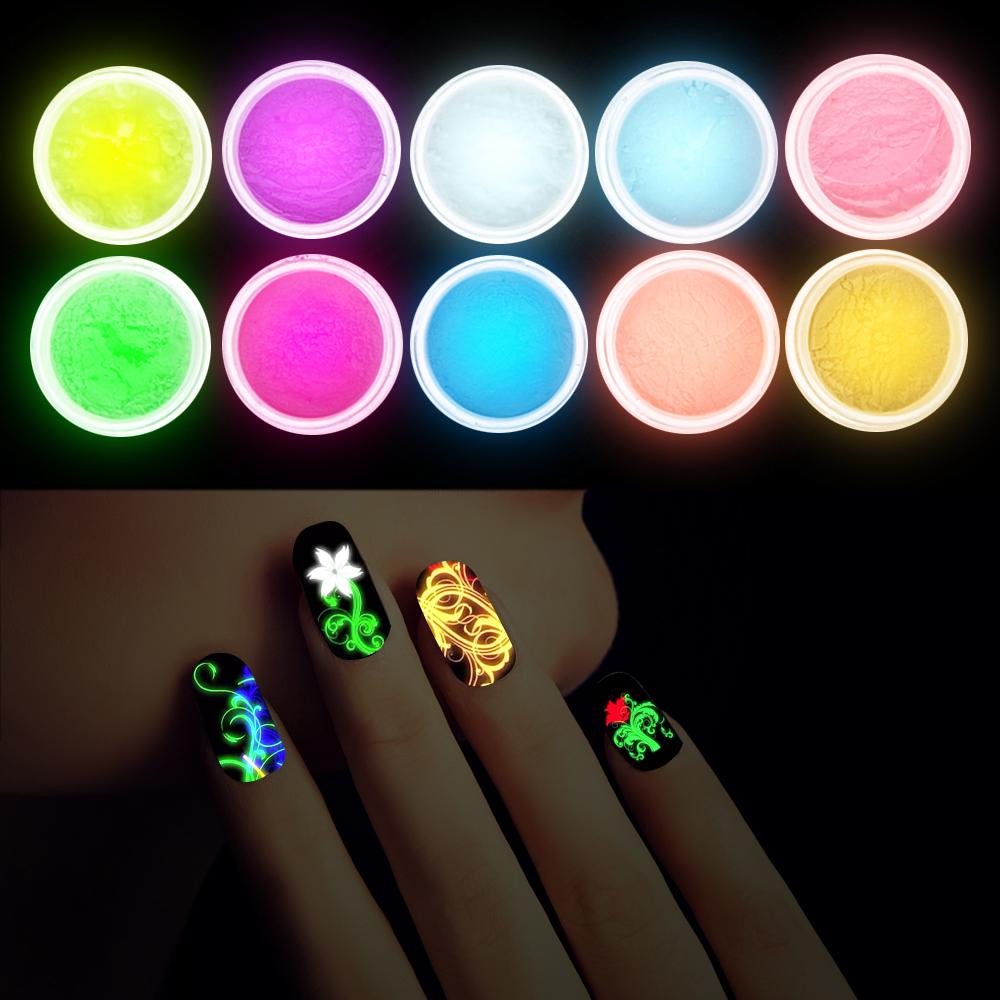10Pcs Decor UV Gel Polish Glow In The Dark Nail Tip Art Glitter Powder Dust Luminous Sands Fluorescent DIY Nail Art Decoration(China (Mainland))