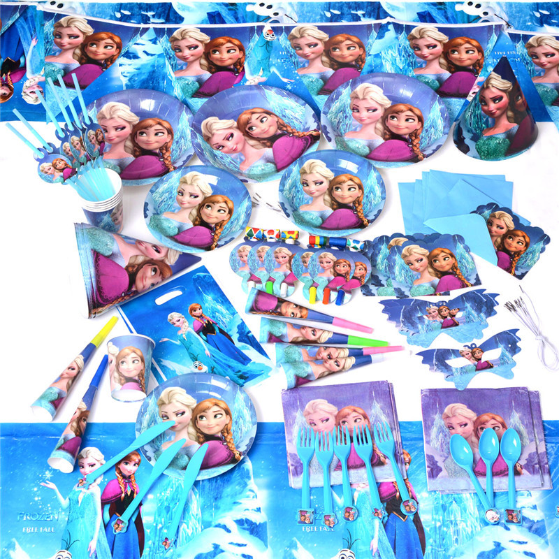 2015 Most Popular For 12 Peoples Using Let It Go Music Cartoon Design Party Gift And Favors Girls Birthday Party Decoration Set(China (Mainland))