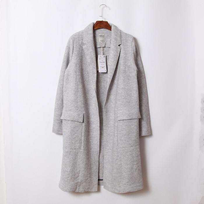 2016 Spring Light Grey Boyfriend Style Wool Coat Side Big Pockets nortched Collar Long JacketОдежда и ак�е��уары<br><br><br>Aliexpress