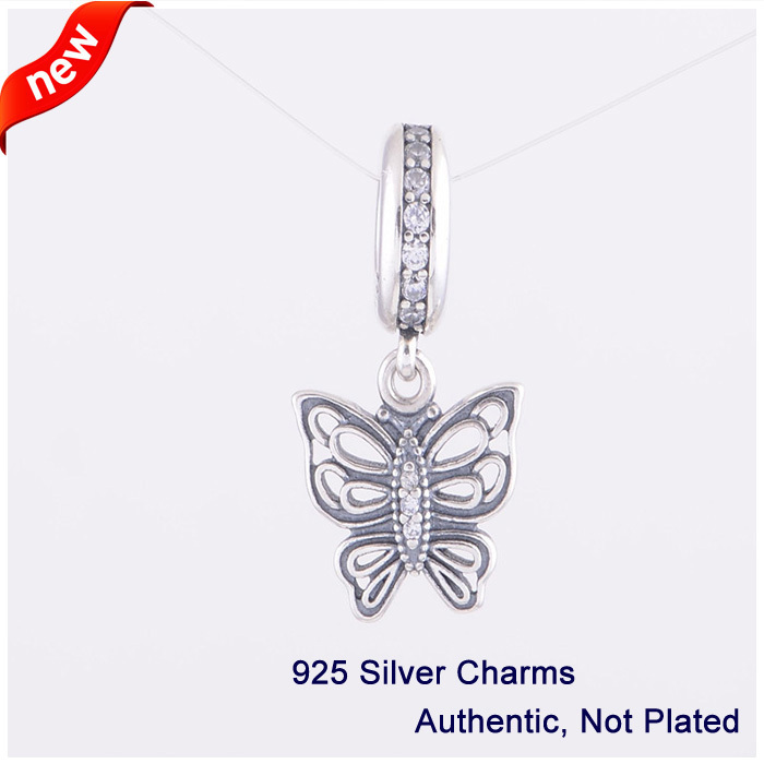 Butterfly Beads DIY Fits for Pandora Bracelets Free Shipping New 100% 925 Sterling Silver Fashion Jewelry Charms Wholesales(China (Mainland))
