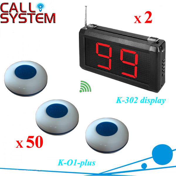 Made in china, Wireless call calling system used in the cafe, hotel, factory, office (2 displays + 50 service button)(China (Mainland))