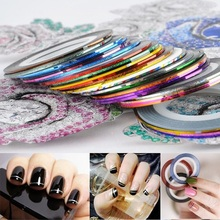 30pcs Mixed Color 3d Nail Stickers Fashion Nail Art Gel Manicure Decal Sticker Beauty Decorated Line Nail Tips Tools
