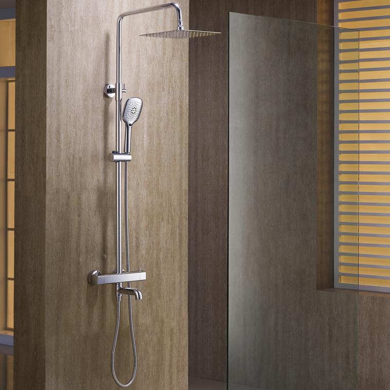 Retail - Luxury Brass Rainfall Shower Set, Thermostatic Shower Rail Bar, Wall Mounted Shower Column, Free Shipping L15186(China (Mainland))