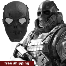 Skull Skeleton Airsoft Paintball BB Gun Full Face Protect Mask Shot Helmets Foam padded inside Black eye shield Full Cover(China (Mainland))