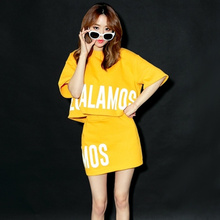 Buy Woman Clothing Set 2017 Summer Korean Casual Letter Printed T Shirt Pencil Skirt Two Piece Set Black conjunto feminino S56 for $17.99 in AliExpress store