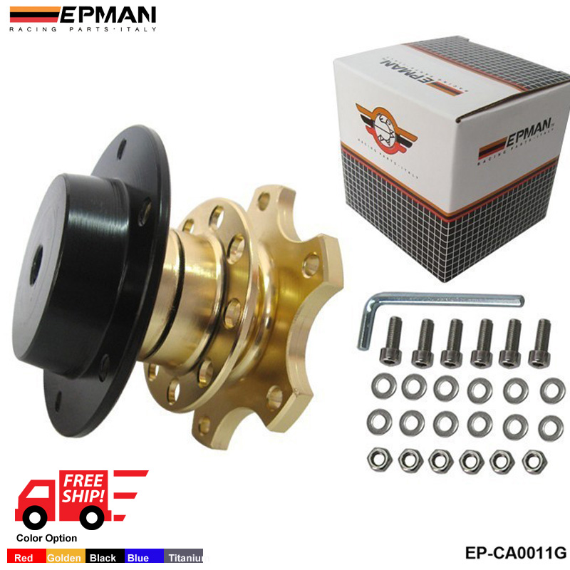 EPMAN Universal Steering Wheel Snap Off Quick Release Hub Adapter Boss kit Color:Golden,Black,Titian,Blue,Red EP-CA0011-FS(China (Mainland))