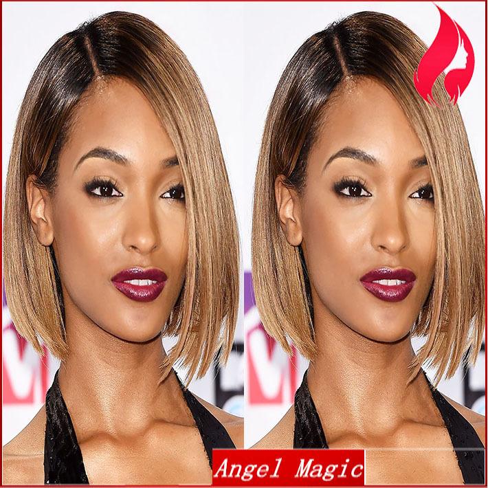 2015 Ombre Women Short Cut Wig Brazilian Human Remy Hair Blonde Full Lace Wigs Glueless Lace Front With Baby Hair Free Shipping(China (Mainland))