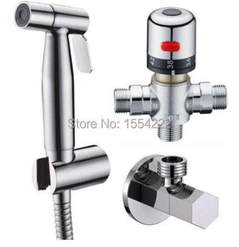 Bathroom Thermostatic Mixer Valve Bidet Spray Water Mixing: Thermostatic Mixer Staianless Steel Hand Toilet Bidet