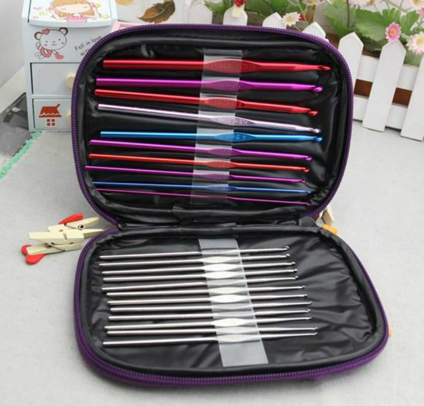 Set De Baño En Crochet Con Una Aguja: Crochet Hook aguja de tejer Set Weave Craft Yarn de tapa de la aguja