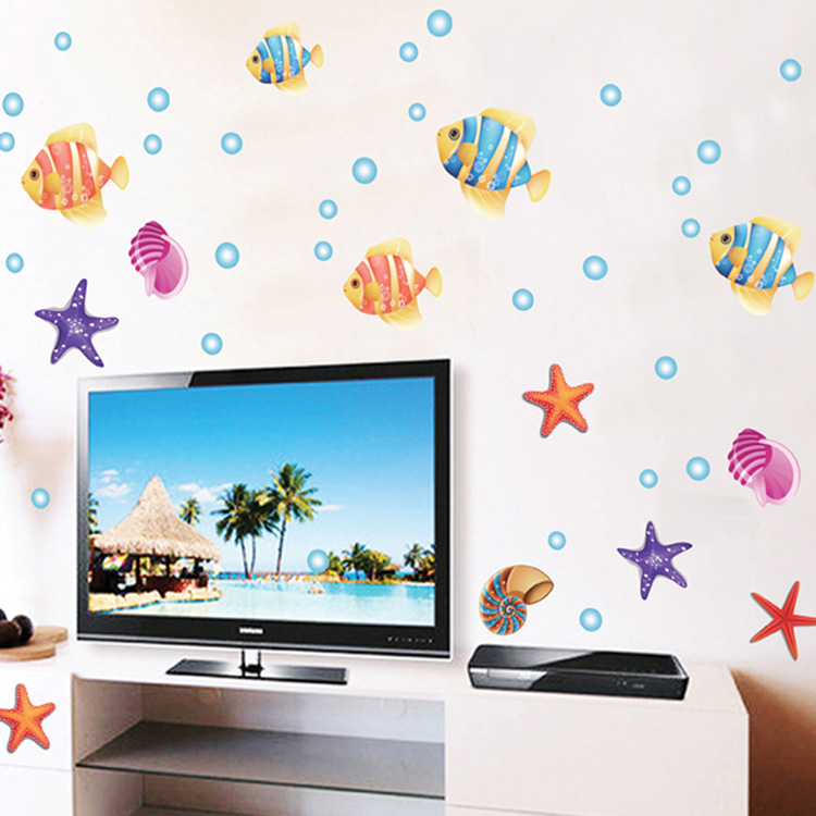 Three Generations Of Wall Stickers Ocean Park Cartoon Children Room Adornment Bedroom Bathroom Fashion Attractive Pro-environmen(China (Mainland))