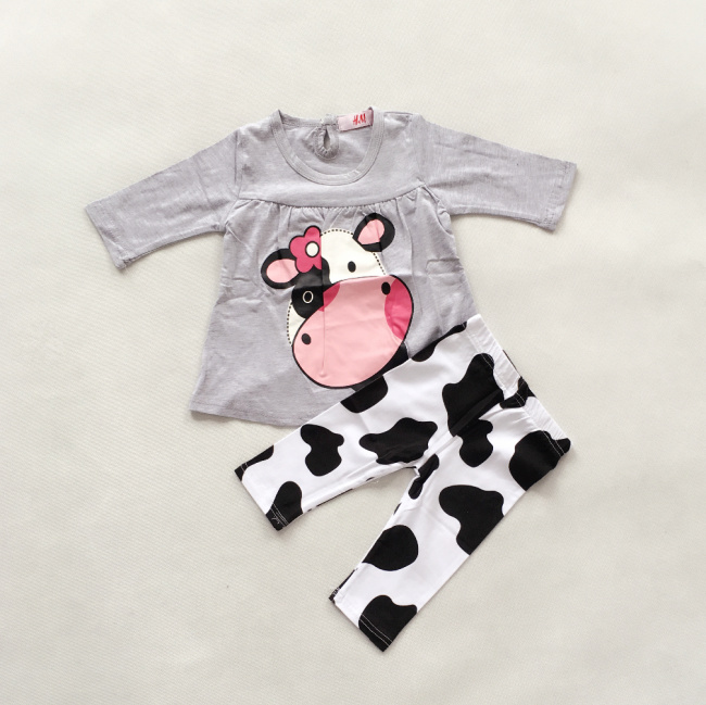 Clearance Baby Girl Cute Cartoon Cow Blouse + Funny Pants Clothing Set Kids Birthday Gift Soft Pajamas Children Outdoor Clothes(China (Mainland))