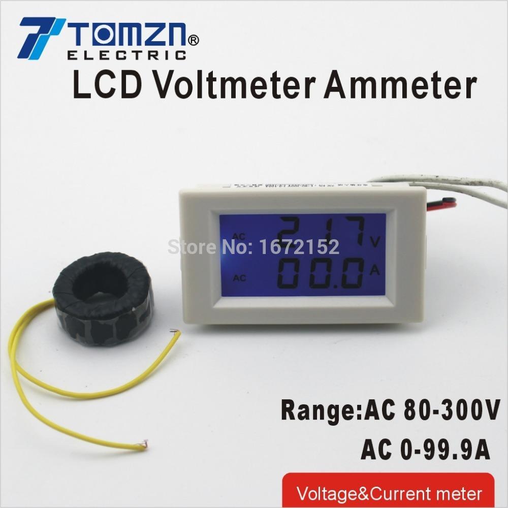 Dual LCD display Voltage and current meter blue backlight panel voltmeter ammeter range AC 80-300V 0-99.9A white<br><br>Aliexpress