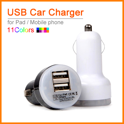 High Quality Auto Universal Dual USB Car Charger For iPad for iPhone for Mobile Phone 5V