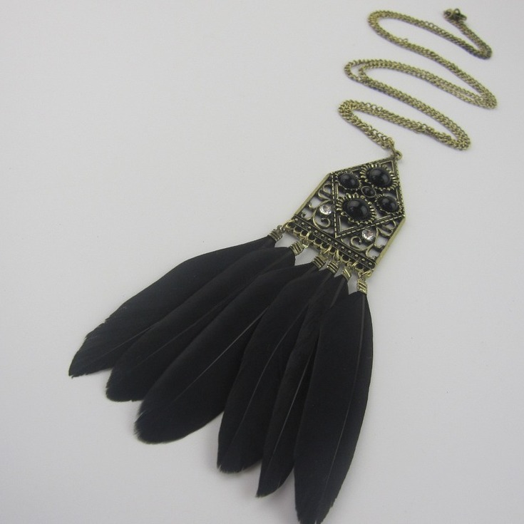 Boho Vintage Style Bronze Long Chain Hollow Gem Flower Pendant Women Black Feather Tassel Necklace(China (Mainland))
