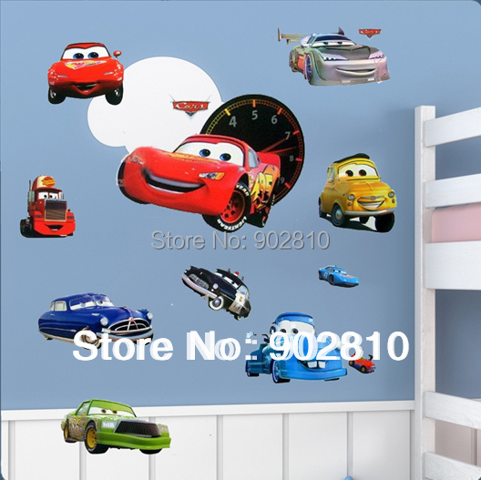 Listed in Stock Free Shipping DIY Wallpaper Cartoon Cars To Kids Wall Sticker For Kid's Room Decoration(China (Mainland))