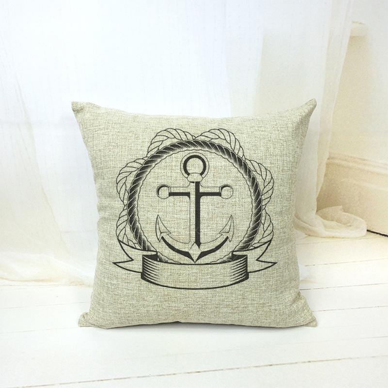 18 X 18 Inch Cotton Linen Black White Anchor Decorative Throw Pillows Home Decor Cushion Coussin ...