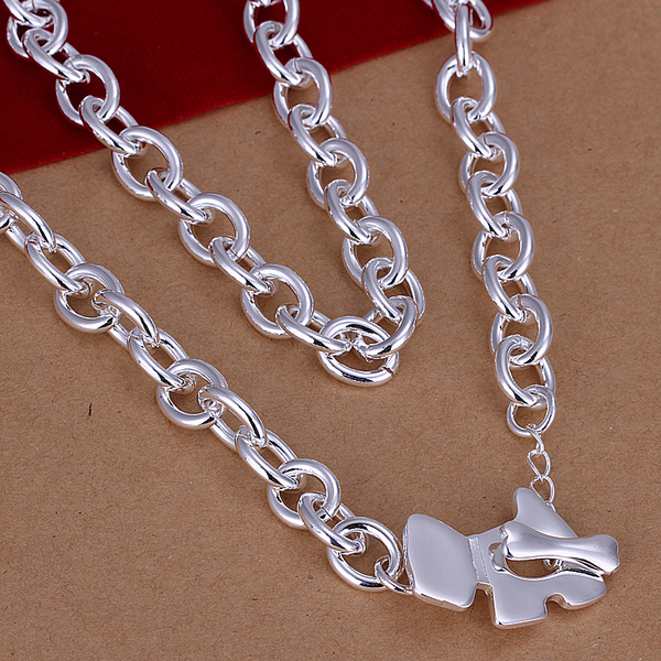 925 sterling silver jewelry 2015 new ex-factory price silver dog tag bone pendants big chain men necklace wholesale&retail CN233(China (Mainland))