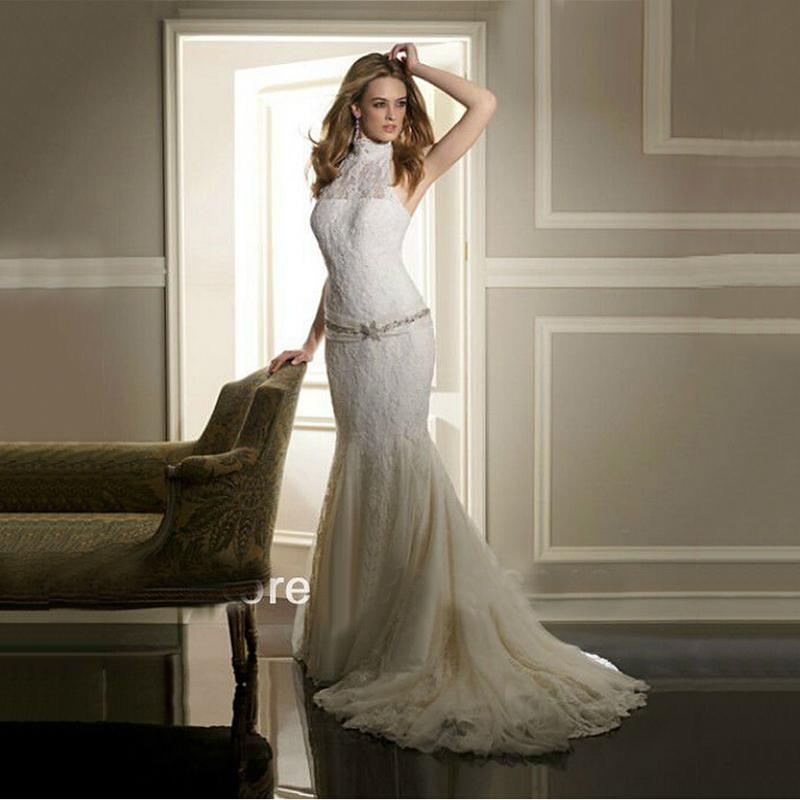 Modern Wedding Dresses Backless : New amazing modern high neck lace wedding dresses backless celebrity