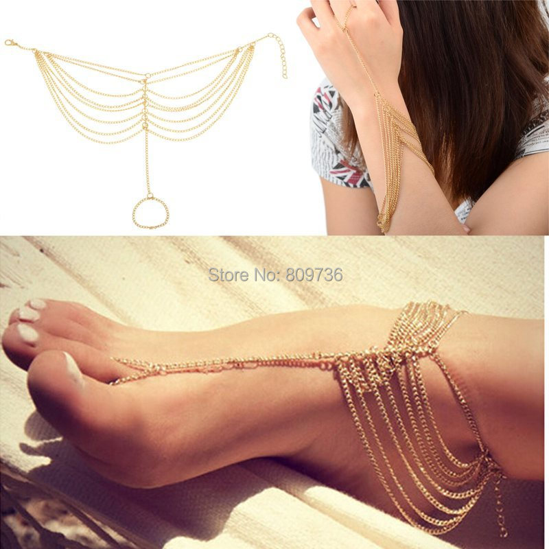 1PC New Hot Celebrity Simple Plated Toe Ankle Bracelet Anklet Chain Link Foot Women Jewelry Drop Free(China (Mainland))