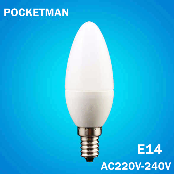 Free Shipping! LED Candle Bulb E14 6W LED Candle Lamp low-Carbon life SMD2835 AC220-240V Warm White/White Energy Saving 1pcs/lot(China (Ma