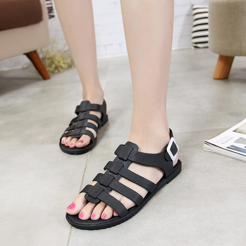 2016 New Summer Lady Strappy Platform flats Heel Chunky Pure Buckle Peep Toe Ankle High Sandals Women Gladiator Shoes<br><br>Aliexpress