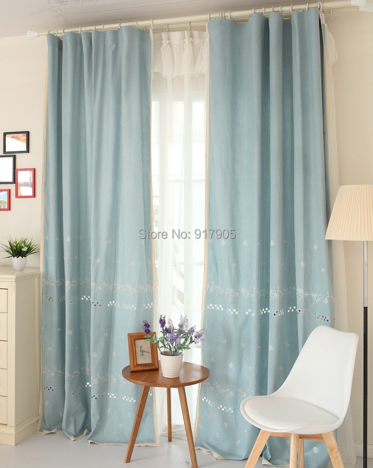 delicate fresh light blue curtains elegant flowers. Black Bedroom Furniture Sets. Home Design Ideas